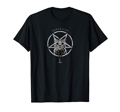 Occult Gothic Grunge Satan Cat Devil Black Baphomet Punk 666 Maglietta