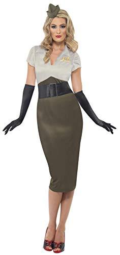 Smiffys Damen WW2 Armee Pin Up Schätzchen Kostüm, Kleid und Mütze, Größe: S, 38816