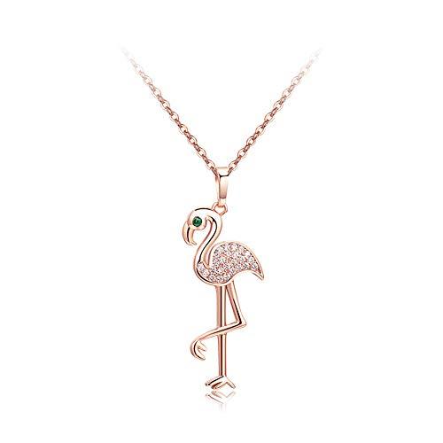 LadyGG Flamingo Rhinestone Necklace Love Bird Heart Pendant Simple Zircon Choker Chain for Women, Parties, Birthdays, Festivals(Rose Gold)