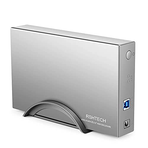 Hard Drive Enclosure RSHTECH USB 3.0 to SATA Aluminum External Hard Drive Dock Case for 3.5 inch HDD SSD up to 16TB Drives, Support UASP (RSH-339)