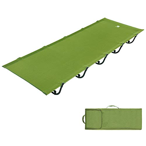 EVER ADVANCED Folding Camping Cot Portable Compact Bed for Camping,Fishing,Outdoor Travel, Support 250lbs, Green