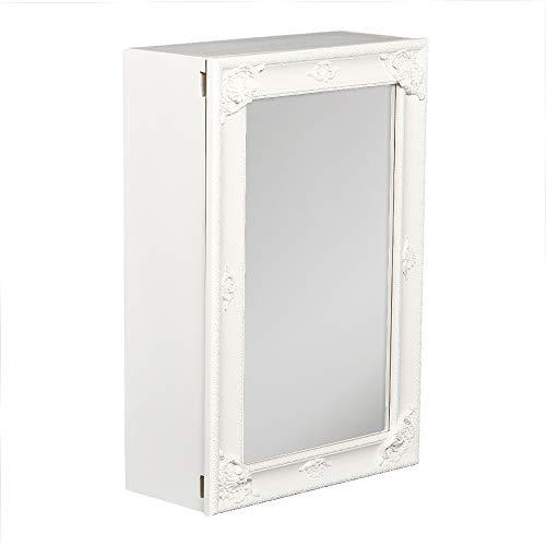 LEBENSwohnART Spiegelschrank MARA Weiß ca. 40x60cm Holz Badschrank Spiegel Barock Schiebetür