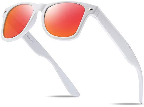 Hatstar Polycarbonat Vintage Sonnenbrille Retro Nerd Unisex Brille mit Federscharnier für Herren und Damen UV400 CAT 3 CE (Weiss (Gläser: Rot-Orange Verspiegelt))
