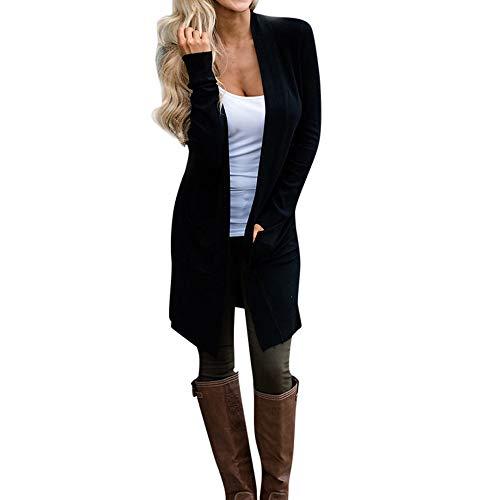 FRAUIT Mantel Damen Herbst Winter Strickjacke Frauen Langen WarmJacke Longjacken Schlanke Mode Einfarbig Elegant Wunderschön Streetwear Freizeit Kleidung Bluse Westen 100% Baumwolle