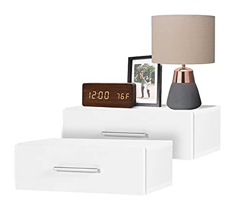 DHOME Mesita de Noche Pared Flotante Dormitorio mesitas mesilla habitación Colgante (Blanco 2 Unidades, con cajón)