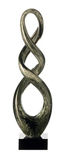Leonardo Turn Skulptur grau/schwarz, B/H/T: 12/39/8 cm, handgefertigtes Farbglas, 064109