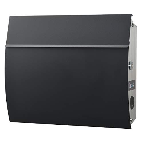LEON (レオン) MB4801 郵便ポスト 壁掛けタイプ ステンレス製 鍵付き おしゃれ 大型 ポスト 郵便受け (マグネット付き) (MAIL BOXシート無し) ブラック