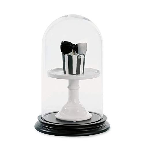 Miss Ètoile - Glasglocke mit Untersatz aus schwarzem Holz - Höhe: 34 cm Ø: 22,5 cm