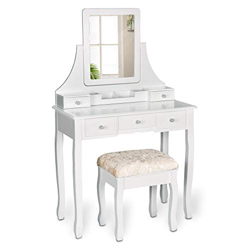 Amolife Vanity Set with Mirror Dressing Table Vanity Makeup Table 5 Drawers/Dividers Movable Organizers,White