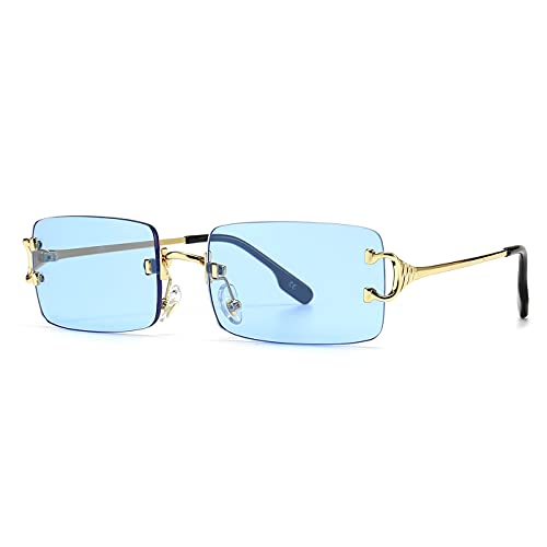 SHEEN KELLY Retro Square Sonnenbrille für Männer Frauen Rechteck Randlose Sonnenbrille Ultra-Small Frame