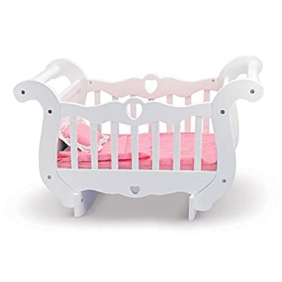 Melissa & Doug White Wooden Doll Crib With Bedding (30 x 18 x 16 inches)