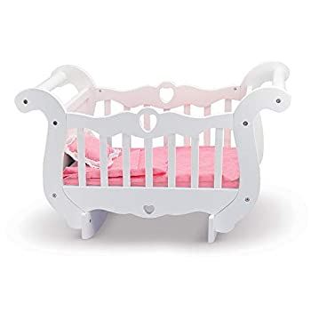 Melissa & Doug White Wooden Doll Crib With Bedding  30 x 18 x 16 inches