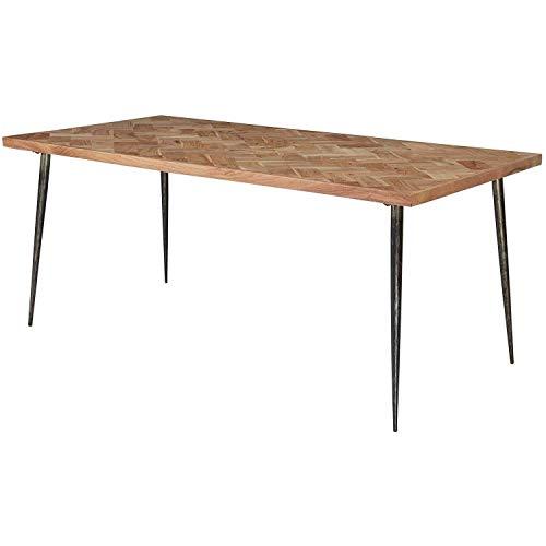 Nancy's Eettafel - Massief Houten Keukentafel - Visgraat Tafel - Eetkamertafel voor 6 Personen - 200 x 77 x 100 cm