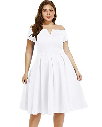 LALAGEN Women's Plus Size Vintage 1950s Party Cocktail Wedding Swing Midi Dress White L