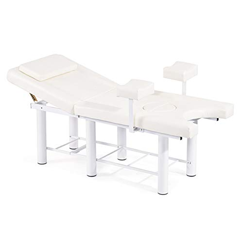 MJLING Medical Gynecological Examination Bed, Women Nursing Operating Table, Reproductive Private Diagnosis Bed, Outpatient Hospital Diseases Equipment (150Kg),White,Foot support