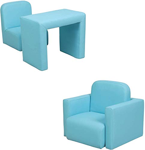 Kids Sofa Multifunctional 2 in 1 PVC Toddler Armchair Sofa with Compact Design Padded Sofa Chair Table Set for Girls & Boys No-Assembly (18 months-6 years old) (Blue)