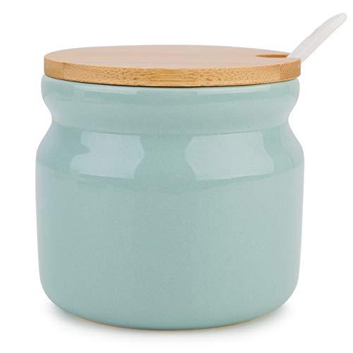 Azucarero de cerámica Chase Chic Porcelana Azucarero con tapa de madera y cuchara de porcelana de 8 oz/230 ml, apto para cafés, cocina y desayuno, verde claro