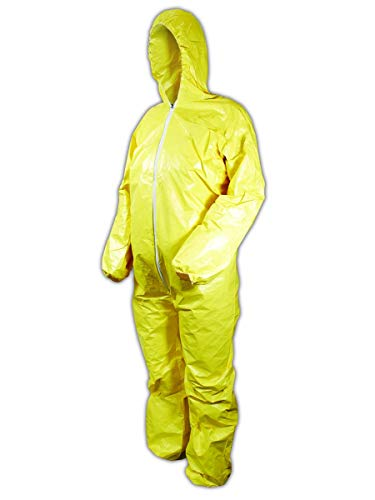 DuPont Tychem 2000 QC127S Disposable Chemical Resistant Coverall with Hood, Elastic Cuff and Serged Seams, Yellow, 2X-Large (Pack of 12)