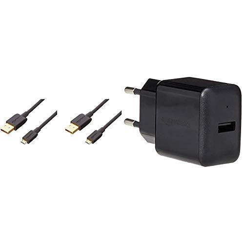 AmazonBasics - Caricabatterie da parete con una porta USB (2,4 A) - Nero; Confezione da 2 & - Cavo USB 2.0 da A maschio a Micro-B (Confezione da 2), 1,82 m, Nero