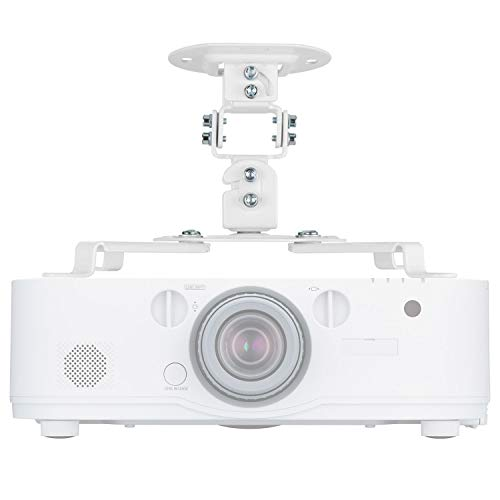 Universal Projector Mount Bracket Low Profile Multiple Adjustment Ceiling, Hold up to 30 lbs. (PM-002-WHT), White