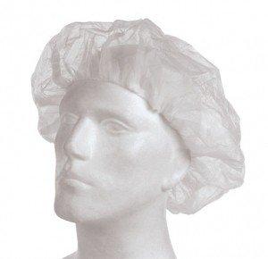 1 Beutel á 100 PP-Einweg Baretthauben, Einweghauben, Kopfschutz, Hygienehauben, Haube weiß