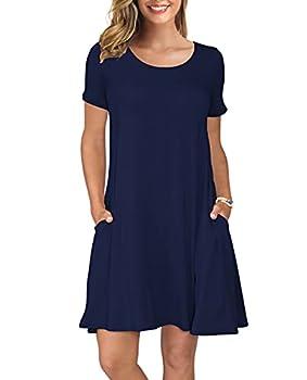 KORSIS Women s Summer Casual T Shirt Dresses Swing Dress NavyBlue M