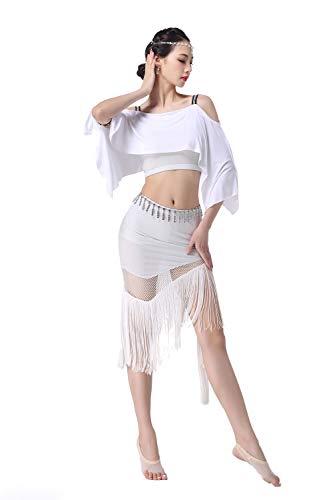 Falda de baile de salón Disfraz de danza del vientre para mujer adulta, manga de murciélago con flecos y falda posando sexy sling Disfraz de vals carnaval vestido de noche ( Color : White , Size : S )