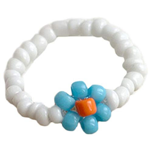 Ixkbiced Anello da Dito Elastico Floreale Color Caramella da Donna Boho Gioielli in Acrilico Elasticizzato con Perline