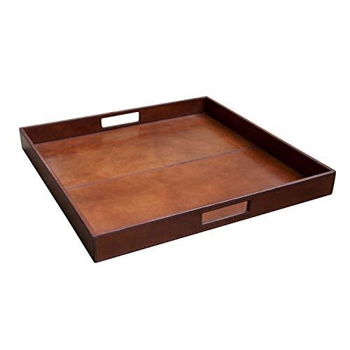 Bandeja Cuadrada de Cuero con Asas Interiores, Color marrón. Medidas: 35 x 25 x 34 centímetros. Material: Cuero (Referencia: 2591108)