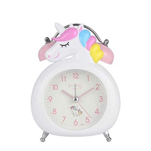 CJMING Lindo Reloj Despertador, Reloj Despertador con Pilas con Luz Nocturna, Reloj Despertador Unicornio para Niños, Alarma Silenciosa para Cama De Niños, Decoración De Dormitorio