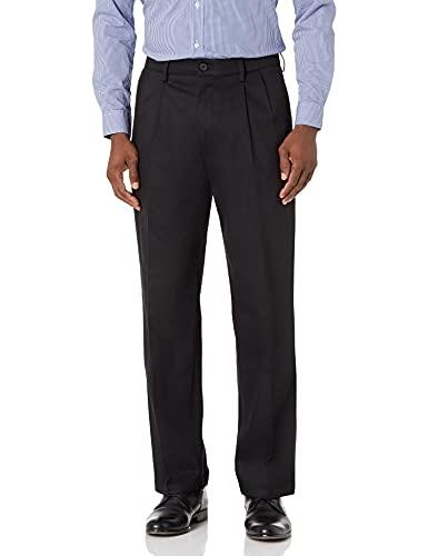 DOCKERS Men's Relaxed Fit Signature Khaki Lux Cotton Stretch Pants-Pleated D4, black, 33W x 30L