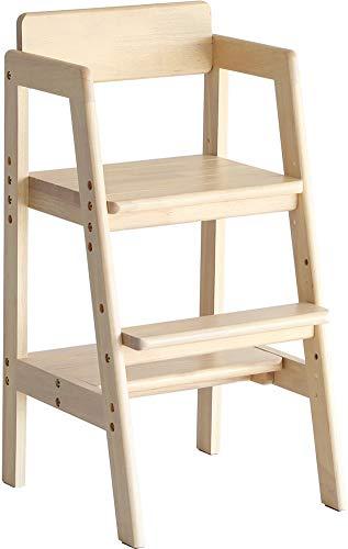 キッズハイチェア ダイニングチェア 食卓椅子 子供用 ナチュラル キッズチェア 高さ調節 幅37 高さ73.5 おしゃれ 北欧 木製 天然木 子ども部屋 コンパクト シンプル 踏み台 リビング プレゼント お祝い (ナチュラル)