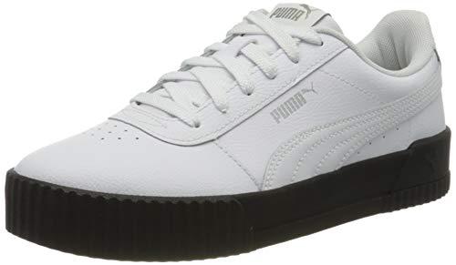 PUMA Carina L, Zapatillas de Cuero para Mujer, Negro White Black Silver 17, 36 EU