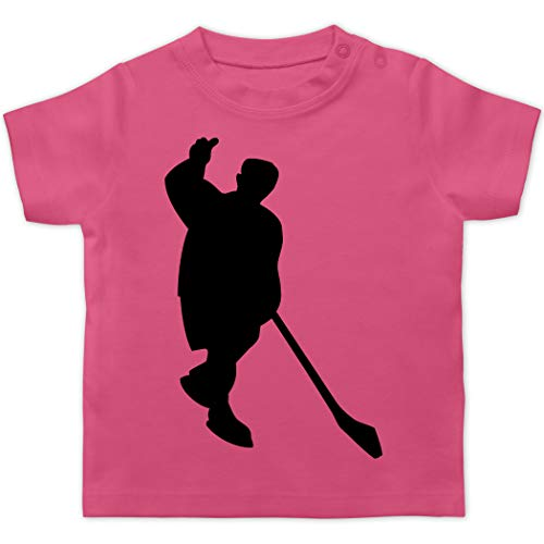 Sport Baby - Eishockeyspieler Silhouette - 1/3 Monate - Pink - Mensch - BZ02 - Baby T-Shirt Kurzarm