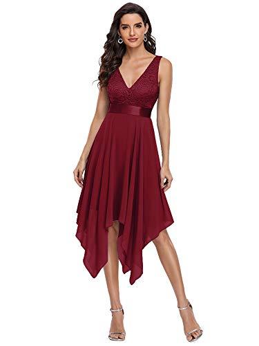 Ever-Pretty Vestidos de Cóctel Corte Imperio Escote en V A-línea con Encaje Gasa Vestido de Noche para Mujer Burdeos 42