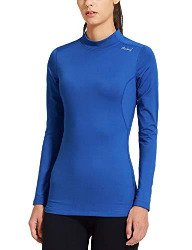 BALEAF Women's Fleece Thermal Mock Neck Long Sleeve Running Shirt Workout Tops Blue Size S