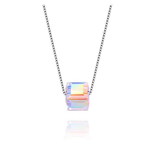 MASHUANG Moda Collar Colgante de Cristal de Cubo para Mujeres, Plata de Ley 925, Regalo para la Esposa Madre Amigos Cumpleaños Navidad, 43 cm / 17'Cadena Uso Diario