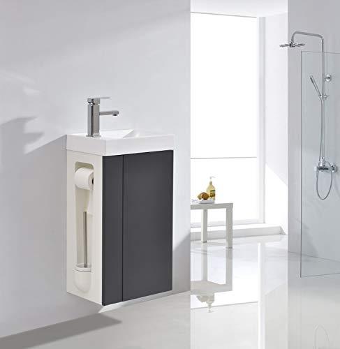 Badmöbel-Set Compact 400 für Gäste-WC - Toilettenbürste Links - Anthrazit matt - Spiegel und Ablaufgarnitur optional