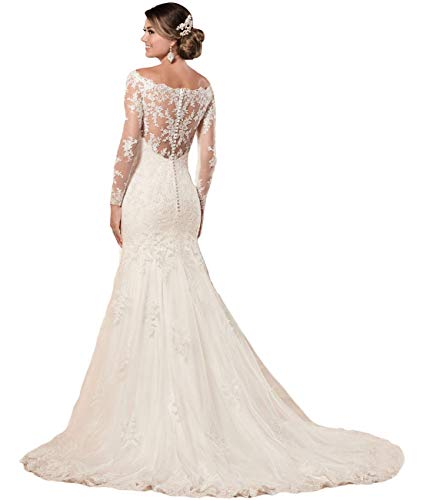 Off The Shoulder Wedding Dresses Long Sleeves Lace Mermaid Wedding Dresses Ball Gown for Bride 2021 White 8