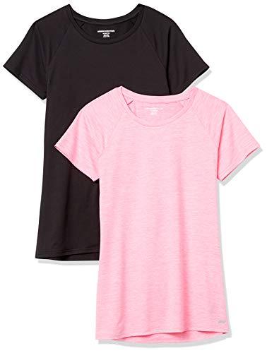 Amazon Essentials Cap-Sleeve Tech Stretch 2-Pack T-Shirt, Schwarz/Kräftiges Rosa, Space-Dye, L