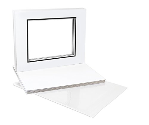Golden State Art NS501142-10Kit Pack of 10 16x20 White/Black Double Mats Mattes Core Bevel Cut for 11x14 Photo + Backing + Bags, 16' x 20'