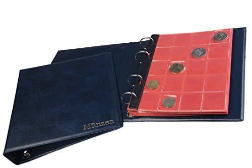 MC.Sammler Münzalbum für 300 Diverse Münzen von Großen bis Kleinen Münzen Album mit 14 Münzhüllen und roten Trennblättern Blau