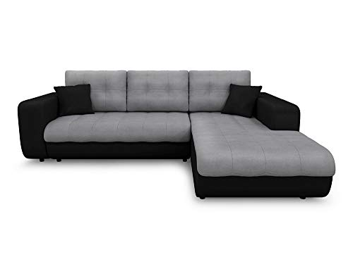 Canapé d'angle 4 places Noir Microfibre Pas cher