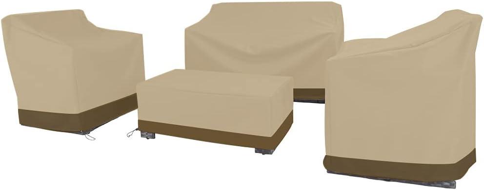 4 Piece Outdoor Veranda Patio Garden Furniture Cover Set Heavy Duty Waterproof Wisteria Lane Patio Furniture Cover Set, Beige