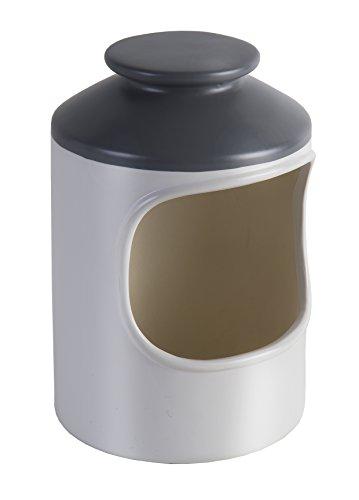 Jamie Oliver Salzbehälter JB1125 formschöner Keramikbehälter, Salzdose mit großer Öffnung. Cremeweiß und anthrazit. Maße: 10x 10x 17,5cm