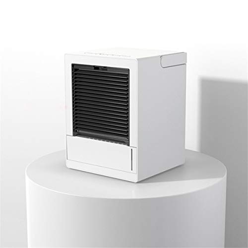 YRRA Air Cooler, Mini Portable Air Conditioner Fan Noiseless Evaporative Air Humidifier, LED Night, 3 Speeds,White,Plug in