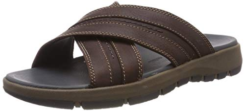 Clarks Brixby Cross, Sandales Bride Cheville Homme, Marron (Dark Brown Leather-), 46 EU