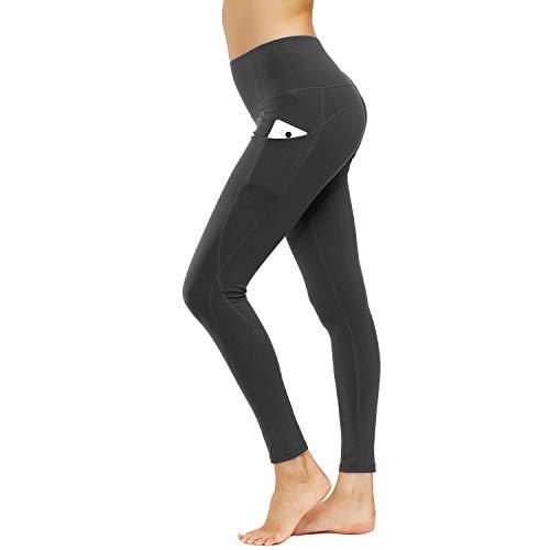 HMIYA Sporthose Damen, Sport Leggings Blickdicht Fitnesshose Tights Yoga Hose mit Taschen(Dunkelgrau,S)
