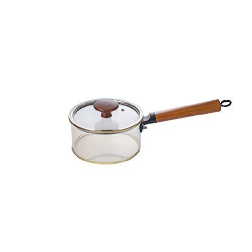 Olla de vidrio para cocinar,Cuencos de Vidrio Olla,Cacerolas de vidrio de 1.7L / 3L con tapa Ollas de cocina de vidrio,con mango de madera con tapas cocina de vidrio transparente resistente al calor