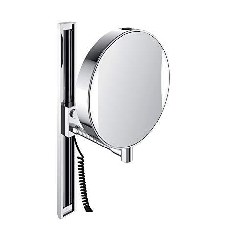 emco LED Kosmetik- und Rasierspiegel am Flexarm, runder Kosmetikspiegel mit Beleuchtung zur Wandmontage, Vergrößerungsspiegel (3-/7-fach) mit einstellbarer Farbtemperatur, chrom